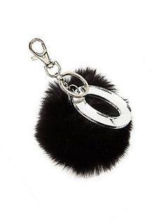 Bari Lynn Girl's Fur Pom-Pom Initial Keychain