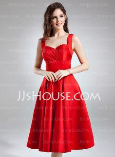 A-Line/Princess Sweetheart Knee-Length Satin Bridesmaid Dress With Ruffle (020037402)