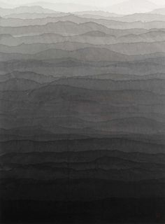 blue-voids:  Minjung Kim - Mountains, mixed media on rice paper, 2008