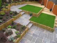 Browse images of black modern Garden designs: GALAXY SANDSTONE PAVING. Find the best photos for ideas & inspiration to create your perfect home. British Garden, Australian Garden, Modern Garden Design, Landscape Design, Modern Design, Paving Design, Sandstone Paving, Sloped Garden, Paving Stones