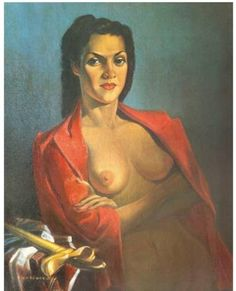 Lenka (Red Jacket) c 1943 A portrait of Leonora Moltema, a striking Eurasion girl, she spoke five languages, an accountant, wearing  an unbuttoned Parisian jacket and a sarong, on the table is a Bible and a Kris (sacred dagger). Lenka became Tretchikoff's mistress and muse during the war years. The original was sold at Bonhams for £337,250 in October 2012.
