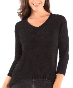 Take a look at this Black Three-Quarter Sleeve Sweater by Shoreline on #zulily today!