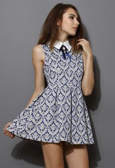 Baroque Print Dress with Contrast Collar - Dress - Retro, Indie and Unique Fashion