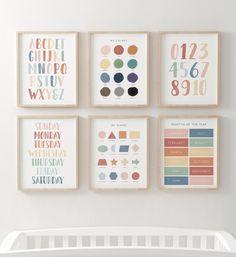Childrens Wall Art, Art Wall Kids, Wall Art Sets, Childrens Alphabet, Photo Print Sizes, Months In A Year, Classroom Decor, Preschool Classroom, Future Classroom