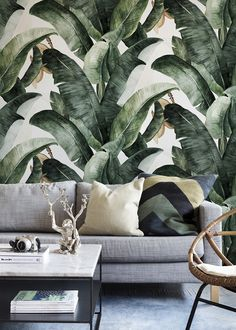 Banana leaves wallpaper| Photowall | Livingroom decor | Decor inspiration | More on Fashionchick
