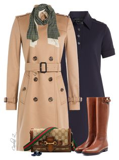 """""""Trench Coat & Dress"""" by carolinez1 ❤ liked on Polyvore featuring Marc by Marc Jacobs, Burberry and Gucci"""