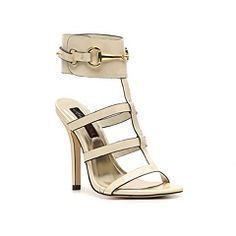 The Destiny stiletto by Heart Soul will make you feel like you've met your match. This gorgeous strappy sandal combines ankle strap styling with gold buckle detail for a shine no one can resist.