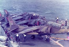 HMS Hermes Harrier Trials Harrier Harrier from RAE Bedford, Harrier and G-VTOL Harrier two-seater V/STOL company demonstrator. Air Force Aircraft, Fighter Aircraft, Fighter Jets, Military Jets, Military Aircraft, Hms Ark Royal, Close Air Support, Combat Gear, Experimental Aircraft