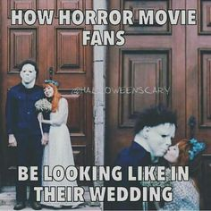 Horror fan wedding, when I was in high school we had a wedding project in my sociology class. I wanted a Gothic esque type wedding..lol casket built for two and hearse to ride in instead of limo ha