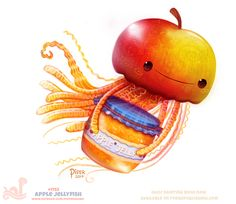 Daily+Paint+1753#+Apple+Jellyfish+by+Cryptid-Creations.deviantart.com+on+@DeviantArt