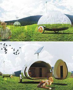 Slovakia-based Architect has nice idea for future mobile-homers: the Rolling Stone eco-capsule