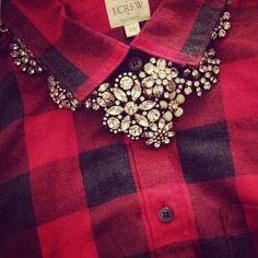 tis  the season // j.crew (statement necklace, crystal lattice necklace) and j.crew factory (buffalo check)! // Instagram @ShabbyChicPreppy