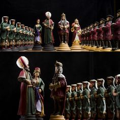 Habsburg vs Ottoman empire Handmade Tin Chess Set - hand painted. Robust but detailed tinsel chess pieces. They have an elegant look. They stage the period of the Habsburg monarchy and the Ottoman Empire of the 17th century. The pewter pieces have an amazing. heavy feel and inspiring presence . Chess set of 32 figures, weight 13 Kg. Shapes sizes: King - 13 cm, and weight 700 gr