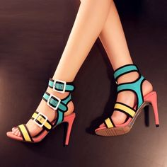 Contrast Color Open Toe Women's Sandals