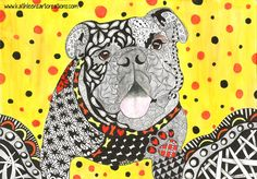 """Whimsical English Bulldog named """"Norman"""" finished 7-16-14. A 12-pack of note cards are available for $23.00 with FREE shipping and handling.  Prints also available."""
