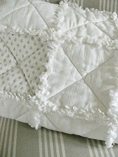 White on white rag quilt, cutest one I have seen! Doing this for myself!