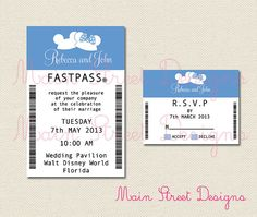 Ear Hat Fastpass Invitation and RSVP