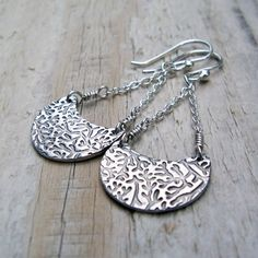 Metal Clay Silver Earrings - Sterling Silver, Fine Silver, Chandelier, Crescent Moon, Textured.