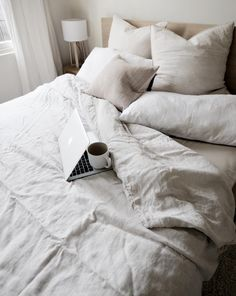 Compter + coffee = no reason to leave this comfy bed. Comfy Bed, Linen Fabric, Window Treatments, Pure Products, Coffee, Design, Home Decor, Homemade Home Decor, Dresser Bed