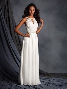 Modern chiffon jumpsuit featuring a draped sweetheart neckline, sheer modified halter straps, and luxurious crystal beaded trim at the neckline and natural waist. The floor length wide-leg pants are softly gathered at the waist.