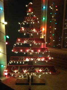 "Pallet Christmas Tree with Lights ""We Wish You A Merry Christmas"""