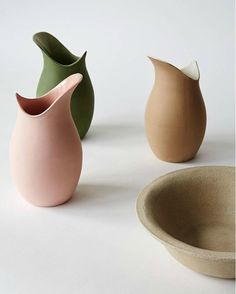 Norwegian Design duo Victoria Günzler and Sara Wright Polmar conceive everyday products for the home that they hope people will use and appreciate for a long time.  Their cast pitchers stained in soft earthen colors contrast with the rough stoneware of the basin. About their pitchers and basins they say Throughout history the water pitcher and basin have been objects of necessity. Today it represents a nostalgic and romanticized look at past times objects and activities.   by potsinaction
