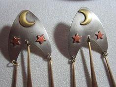 Feeling Celstial? ~  Long Large Pierced Earrings Celestial Brass Pewter Dangle Copper Vintage | eBay