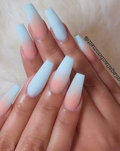 Acrylic Nails Coffin Ombre, Summer Acrylic Nails, Coffin Nails, Summer Nails, Ballerina Acrylic Nails, Stylish Nails, Trendy Nails, Cute Nails, Cute Acrylic Nail Designs