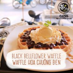 New year is coming! Do you have any plan to date with your friend?  Why don't you come to Dasis Tea & Coffee House and enjoy Black Bellflowers Waffle. This Dish is made perfectly by a tasty cake, covered by topping cream above and a delicious cream. Remind you that Dasis still has many cute red envelope to gift you.  dasis.vn