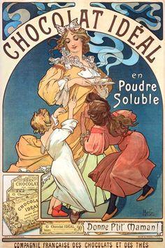 Alphonse Mucha-Poster advertising ''Chocolat Ideal''