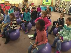 In one school in the Charlotte, North Carolina area, you will now be very hard-pressed to find any chairs. Just about all the kids spend all day sitting on balls.