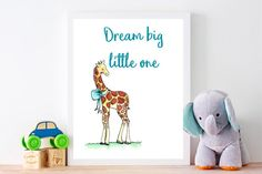 Dream big little one nursery prints artwork children's | Etsy