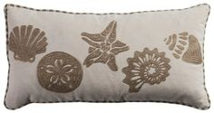 Sure to complement your nautical decor, this Rizzy Home Shells Coastal throw pillow features seaside favorites, including a starfish and conch shell. In light beige. Accent Pillows, Throw Pillows, Pillows Online, Beige Color, Light Beige, Lumbar Pillow, Baby Clothes Shops, Pillow Covers, Starfish