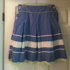 Talbots skirt Talbots cotton periwinkle, white and lime skirt Talbots Skirts A-Line or Full