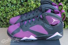 Detailed images of the Air Jordan 7 Retro Mulberry Release Date, (style 442960-009, Black/Fuchsia Glow-Mulberry-Wolf Grey), a kids exclusive colorway releasing in late 2015.