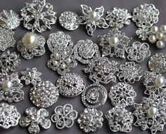 SALE 10 Large Assorted Rhinestone Button Brooch Embellishment Pearl Crystal Wedding Brooch Bouquet Cake Hair Comb Clip BT165