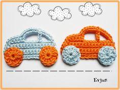 Häkelapplikationen - ♥ Zwei  Autos - Häkelapplikation ♥ - ein Designerstück von Evjans bei DaWanda