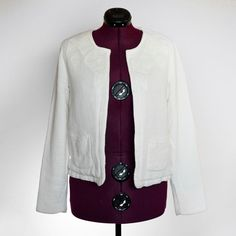 MANGO MNG Suit Collection White Jacket Blazer Coat Sz M Knit Career Womens Fall | eBay
