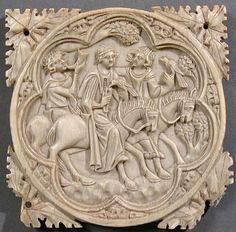 Ivory Mirror Case with a Falconing Party, 1330–60. French. The Metropolitan Museum of Art, New York. Gift of J. Pierpont Morgan, 1917 (17.190.248) #horses