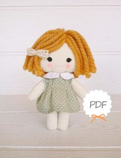 Shop for rag doll on Etsy, the place to express your creativity through the buying and selling of handmade and vintage goods. Sock Dolls, Felt Dolls, Doll Toys, Baby Dolls, Doll Clothes Patterns, Doll Patterns, Fabric Dolls, Paper Dolls, Sewing Tutorials