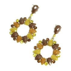 "Fashion Dangle Earrings; 2.25""L; Gold Metal; Beige, Tan, And Brown Gemstones; Post; Eileen's Collection. $19.99"