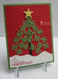 Christmas tree using StampinUp snowflake punch. There are other neat ideas using punches in this Pin as well. Christmas Tree Cards, Noel Christmas, Christmas Paper, Xmas Cards, Handmade Christmas, Holiday Cards, Christmas Crafts, Punch Art Cards, Paper Punch
