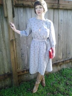 Gray dress with maroon cherry print vintage by FernsAndFogVintage, $21.00