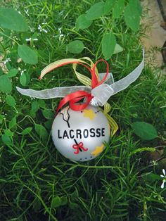 Lacrosse Ornament - Personalized Handpainted Christmas. $18.00, via Etsy.