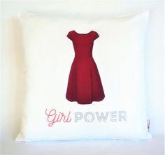 Girl Power Red Dress Pillow, Pillowcase, Sofa Pillow, Feminist Cushion, Feminist Decor, Pillow cover, Feminist gift