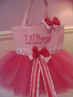 Embroidered Dance Bag Tutu Tote Bag Pink Ballet by gkatdesigns 1f781977b540d