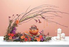 Unique floral arrangement with candles