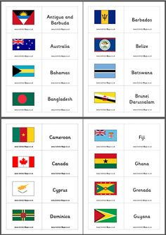 """Can you identify the flags of all 53 countries of the Commonwealth? Here's a flag matching game that will help you find out! Either cut out each """"card"""" individually and then match flag to country name, or make flash cards. Teach English To Kids, Teaching English, Craft Activities For Kids, Activity Games, Commonwealth Games 2018, British Vs American, Make Flash Cards, World Geography, Flags Of The World"""