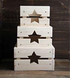 Купить или заказать Набор ящичков 'звезды' в интернет-магазине на Ярмарке Мастеров. Набор симпатичных ящиков из сосны. Интересный предмет интерьера и удобное решение для хранения различных мелочей) Дно ящичков выполнено из берёзовой…