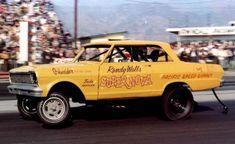 Randy Walls banana yellow Chevy II Nova altered wheelbase early funny car